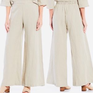 Bryn Walker linen wide leg pants oatmeal cream M